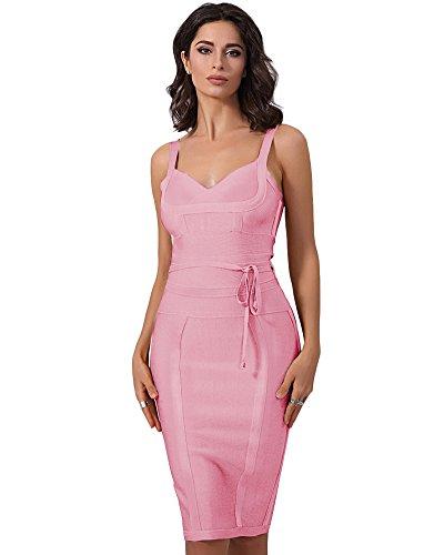 Whoinshop Damen Ärmellos Bodycon Kleid Ebene Figurbetontes Bandage Festliche Partykleider (XS, Rosa1) Bandage Kleid