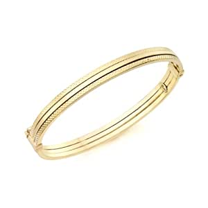 Carissima Gold 9 ct Yellow Gold Patterned Detail Bangle