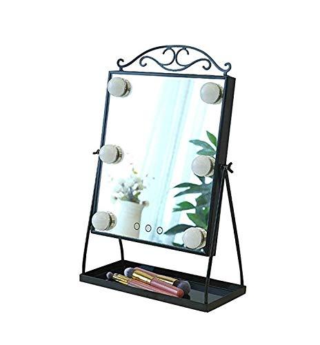 Mirror Hollywood Desktop Kosmetikspiegel beleuchtet mit 8 dimmbaren LED-Glühbirnen, Kosmetikablage, Smart Touch Control, Schwarz-Weiß-Kronengeschenk LITL (Color : - Glühbirne Und Steckdose Kostüm