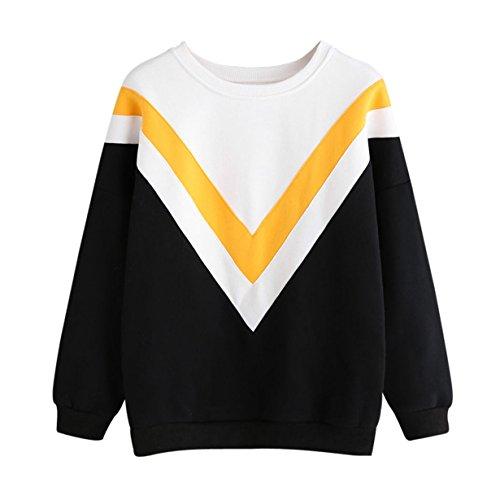 Longra Sudadera con Capucha para Mujer, 2017 Otoño Blusa Tops Patchwork Sweatshirt,Manga Larga Blusa Tops (S, Negro+Blanco+Amarillo)