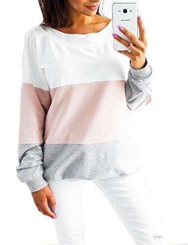 Pullover Damen Locker, Teenager Mädchen Langarm V-Ausschnitt Lose Oversize Oberteile Pulli Langarmshirt Streetwear Patchwork Gestreift Sweatshirt Tops Hemd Bluse Jumper (Rosa, S)