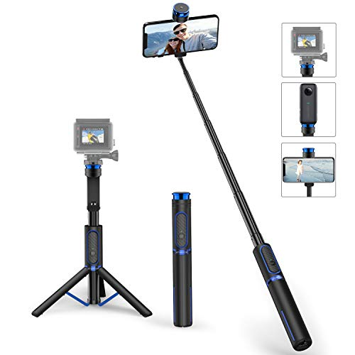 ATUMTEK Bluetooth Selfiestick Stativ mit Schraubbefestigung, 4 in 1 Aluminium Selfie Stick mit Drahtloser Fernbedienung für iPhone 11/X/XS/8/7 Plus, Samsung, GoPro, Osmo Action, Selfie Light und Mehr