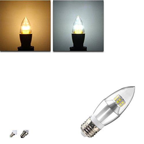 MASUNN E12/E14/E27 14W 25 SMD 2835 Silvery LED Kerze Glühbirne Nicht Dimmbare Lampe Ac 85-265V-Warmes Weiß - E14