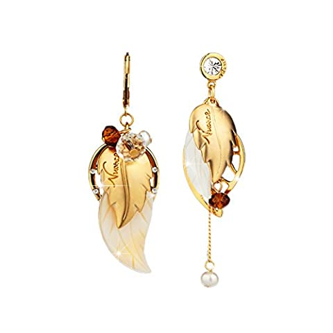 Lianjie Women's Drop Dangle Earrings Leaf Alloy Crystal Asymmetric Bohemia Style Jewelry(golden