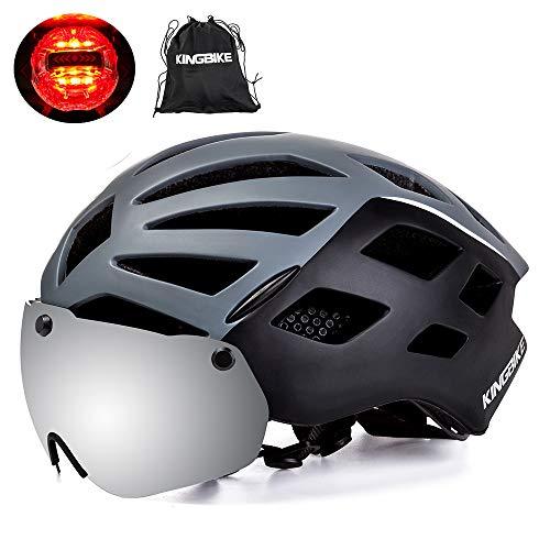 KING BIKE Fahrradhelm,mit Abnehmbarem UV400 Schutz,Abnehmbaren Schutzbrille Schild Visier,26 Belüftungsöffnungen,kann über die Brille,M/L/XL (XL:59-63CM, grau)