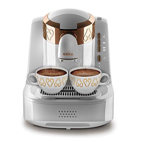 Arzum-Okka Hochwertige Türkische Mokka Maschine Kaffemaschine Modern Weiß Kupfer, Farbe:Weiß