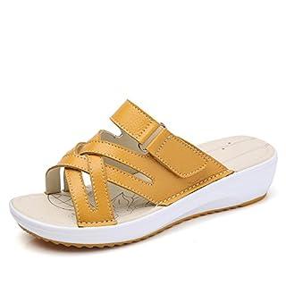 RDJM Femme Chaussures Mules En Cuir Sabots Sandales À Bout Ouvert Sandales À Plateforme Sandales À Talons Pantoufles,Yellow,35