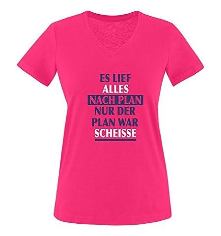 Comedy Shirts - Es lief alles nach Plan nur der Plan war scheisse. - Damen V-Neck T-Shirt - Pink / Lila-Weiss Gr. (Beste Tv-preise Nach Weihnachten)