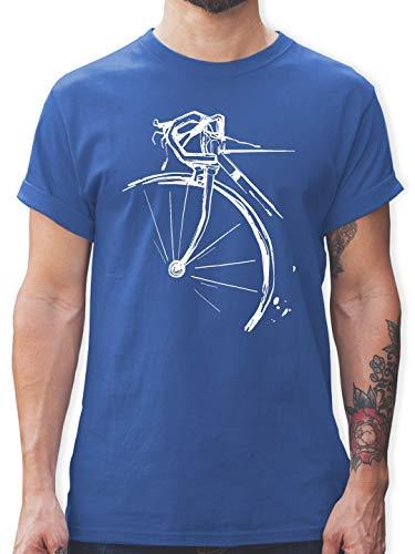 Radsport - Fahrrad Vintage Effekt - M - Royalblau - L190 - Herren T-Shirt und Männer Tshirt -