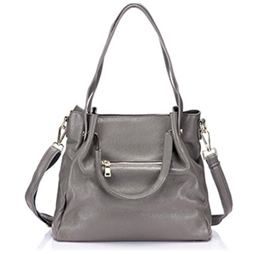 Damen Einfache Weiche Leder Umhängetasche Große Kapazität Handtasche ElephantGray