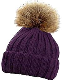 Ladies / Womens Faux Fur Bobble Beanie Detatchable Pom Pom Winter