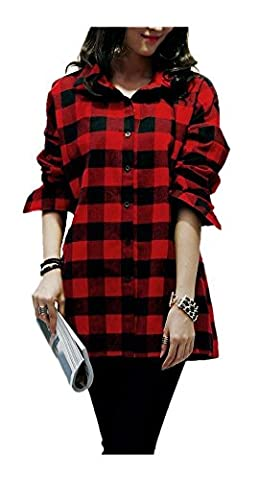 ARJOSA Women's Classic Plaid Checkered Flannel Button Down Casual Tunic Shirt Top (M / 10-12, #1 Black Red)
