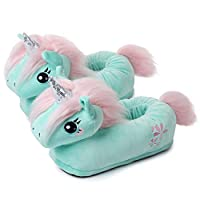 corimori 1847 (Various Animal Designs) Animal Shaped Plush Booties, Carpet Slippers, Jade the Unicorn, Turquoise, Kids One Size UK 8-1