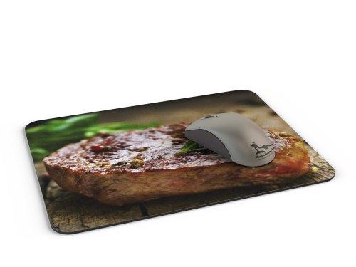 41BlIwba%2BtL - Mauspad / Mouse Pad aus Textil mit Rückseite aus Kautschuk rutschfest für alle Maustypen Motiv: Saftiges Steak mit Kräutern [05]