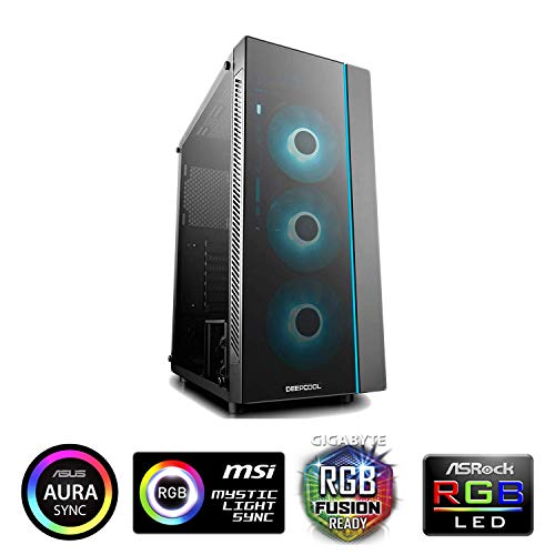 DEEPCOOL MATREXX 55 Midi-Tower Black Computer Case (Midi-Tower, PC, Plastic, SPCC, Tempered Glass, ATX,EATX,Micro-ATX,Mini-ITX, Black, 0.6 mm) Matrexx 55 Matrexx 55 | 1*Strip RGB | 3*Fan RGB Black Micro Case