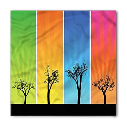 LULABE Tree Bandana, Colorful Banners Autumn, Unisex Bandana Head and Neck Tie Neckerchief Headdress Silk-Like 100% Polyester