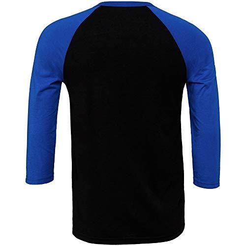 Bella+Canvas Canvas Herren Baseball T-Shirt, 3/4-Ärmel (2XL) (Schwarz/Royal)