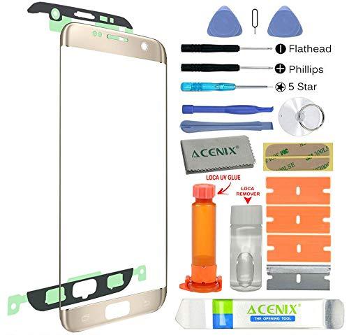ACENIX Universal Reparaturset Ersatz Bildschirm Front Außen Objektiv Reparatur Kit Gold für Samsung Galaxy S7Edge + UV-Klebstoff und Öffnung Pry Tools