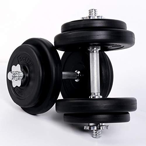 CCLIFE Manubri Pesi 20 kg Set (2 x 10 kg) Bilanciere con Rivestimento in Plastica Fitness, Colore:2x10 kg