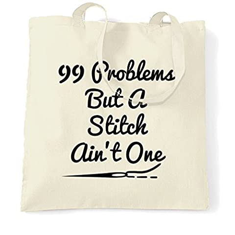 99 Problems But A Stitch Ain't One Cross Stitch Crafter Shopping Carrier Tote Bag