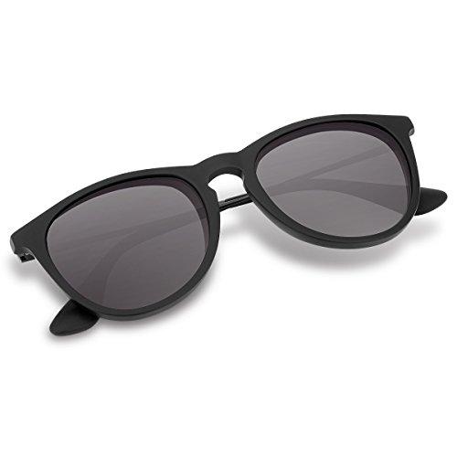 Wenlenie Polarisiert Runde Sonnenbrille, Unisex Leichte Sonnenbrille für Herren/Männer (Rund, Schwarz)