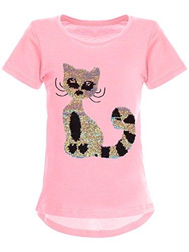 BEZLIT Mädchen Wende-Pailletten T-Shirt Katzen-Motiv Kurz-Arm 22590 Rosa Größe 128 - Mädchen Rosa Armee T-shirt