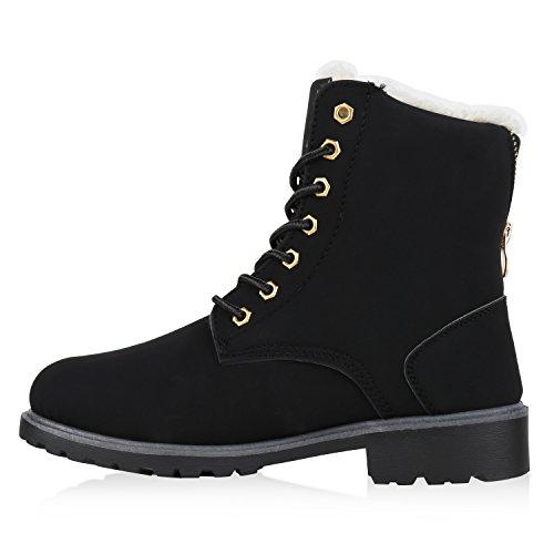 Warm Gefütterte Damen Stiefeletten Worker Boots Kunstfell Schwarz Grau Weiß