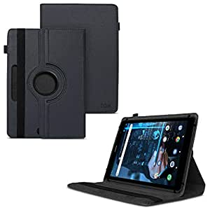 TGK 360 Degree Rotating Universal 3 Camera Hole Leather Stand Case Cover for iBall iTAB BizniZ Mini 8 inch Tablet - Black