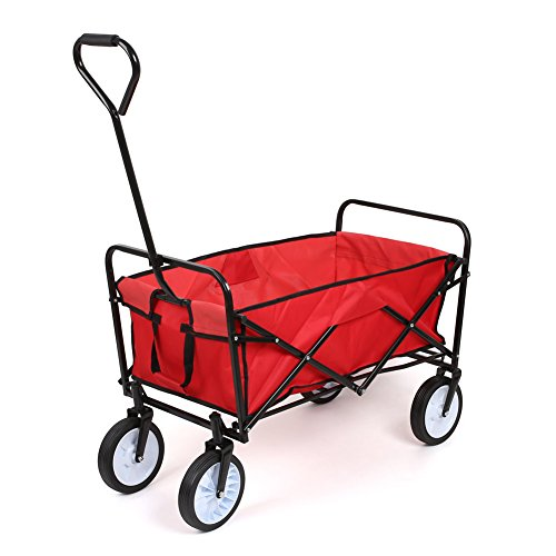 Preisvergleich Produktbild FEMOR faltbarer Handwagen Transportwagen Bollerwagen Transportkarre Handkarren Werkzeugwagen Rollwagen Garten Wagen Rot (Rot)
