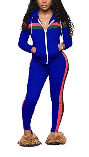 LKOUS Damen brief gedruckt 2 stück outfits langarm-t-shirt tops und dünne lange hosen-set sweatshirt XX-Groß blau -1