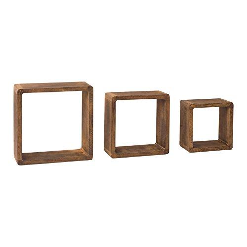 Mobili rebecca® set 3 mensole da parete scaffali quadrate legno chiaro naturale cubo design camera soggiorno (cod. re4180)