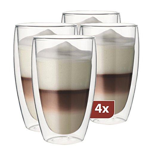 Maxxo Doppelwandige Gläser Latte Macchiato Set 4X 380 ml Thermogläser mit Schwebe-Effekt Kaffeegläser Spälmaschinenfest