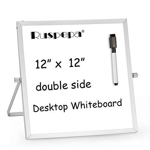 RUSPEPA Kleines Trocken Abwischbares Whiteboard - 30.4Cmx 30.4Cm Magnetisches Tragbares Whiteboard-Gestell Mit 1 Schwarzer Markierung - 360 Grad Umkehrbar, Um Notizen Für Den Desktop Zu Tun (Magnetischen Trocken-board)