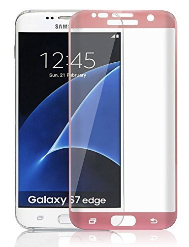 AccWorld Full Screen Coverage 9H HD Curved Tempered Glass Screen Protector for Samsung Galaxy S7 Edge (Rose Gold)