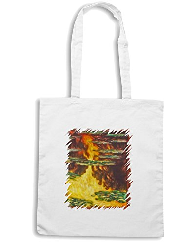 T-Shirtshock - Borsa Shopping TDA0022 monet112 ninfee Bianco