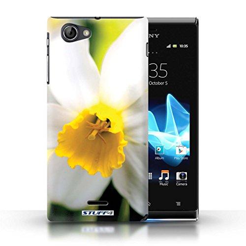 Kobalt® Imprimé Etui / Coque pour Sony Xperia J (ST26i) / Tournesols conception / Série floral Fleurs Fleur blanche
