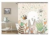 Epinki Polyester Badewanne Vorhang Hase Biene Blumen Muster Duschvorhang Weiß für Badewanne 165x180CM
