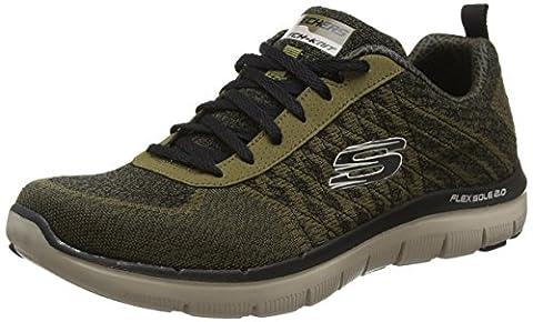 Skechers Men's Flex Advantage 2.0-Golden Point Low-Top Sneakers, Green (Olive), 7 UK 41 EU