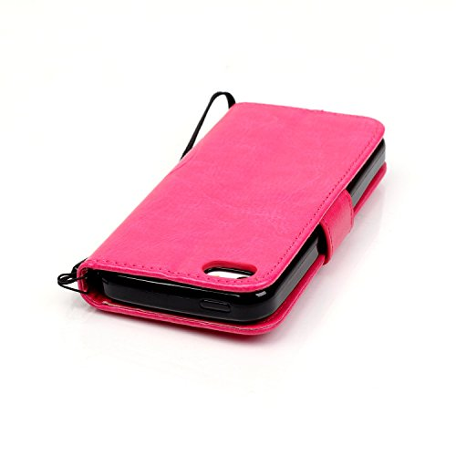 iPhone Case Cover Étui pour iPhone 5C, un seul côté en relief motif de fleur étui en cuir PU, résine en strass Case Book Design étui pliable pour étui Wallet Stand pour Apple iPhone 5C ( Color : Gray  Pink