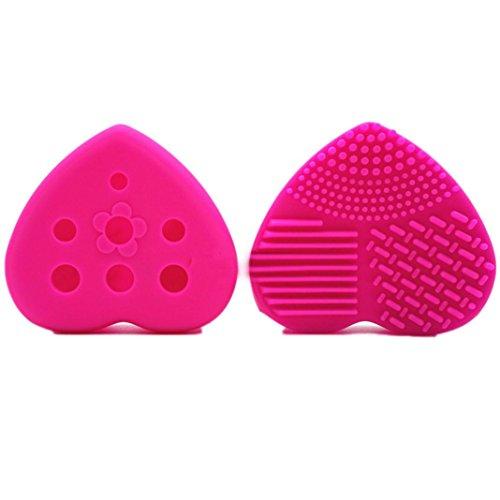 Honestyi Outil de lavage de brosse de maquillage Laveur de silicone Cleane Évider Gant de nettoyage des oeufs (Rose vif)