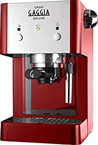 Gaggia RI8425/22 Gran Deluxe Coffee Machine, 950 W, 15 Bar, Red