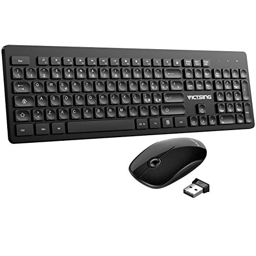 VicTsing Tastiera Wireless PC Italiana, Tastiera e Mouse Wireless PC Compatta, Leggermente Inclinata con 104 Tasti, Mouse Antiscivolo, per Windows 7/8/10/2000 / XP/Me/Vista, PS4, Mac OS