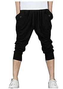 EJY Hommes Casual Danse Pantalon Hiphop Baggy Sport Jogging Sarouel Pants, Pantalons Bermudas Décontracté (Noir, XL)