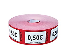CARTALOTO- Rollo de 1000 Etiquetas Valor 0,50 € - Rojo, BITR0506, Multicolor