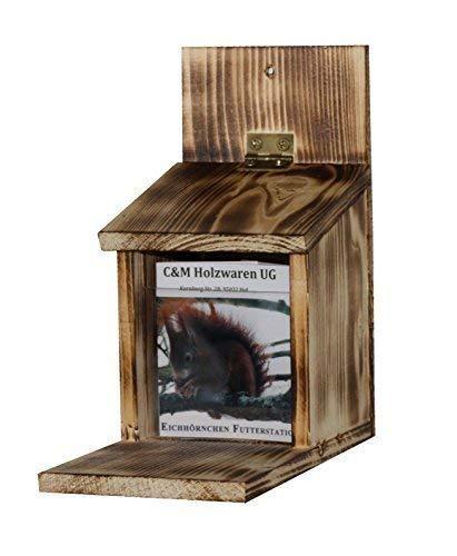 C&M Eichhörnchen - Futterstation; 2 Stück; Maße: ca. H 22 x B 25 x T 11,5 cm (Geflammt)