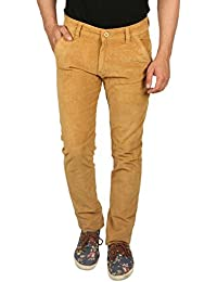 Nimegh Cod Gold Colored Corduroy Casual Solid Trouser For Men's