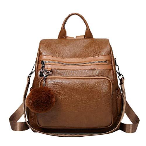 BORKE Frauen Vintage PU Backpack Bequem Party Cityrucksack Wasserdicht Einfarbig Rucksack Damen Einfach Daypacks Schulrucksack Mädchen Teenager Outdoor Sport Frauen Tasche