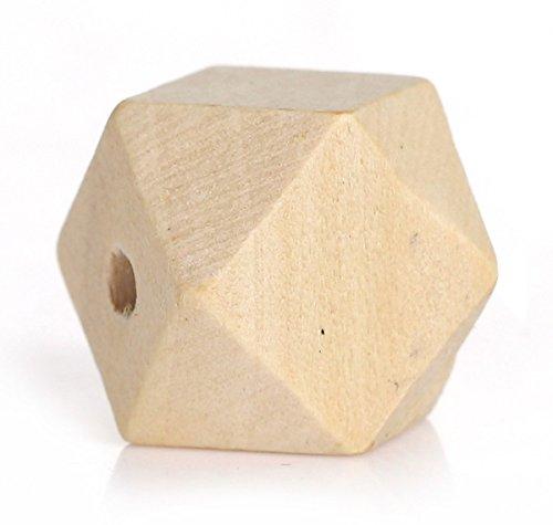 Sadingo Holzperlen, Polygone - 20 Stück - 16 x 16 mm - Geometrische Perlen Zum Basteln, Eckige Holzkugeln, Vieleck