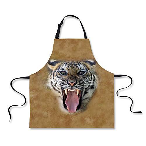 Kostüm Mama Tiger - Nopersonality Schürze für Hunde und Katzen, Jeansstoff, mit verstellbarem Hals, Baumwolle, Tiger, M