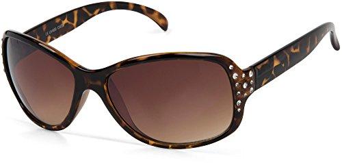 styleBREAKER Sonnenbrille mit Strass und Verlaufstönung, Schmetterlingsform, Damen 09020054, Farbe:Gestell Braun Demi/Glas Braun Verlauf